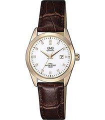 reloj para dama elegante q&q qz13j121y cuero