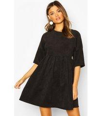 gesmokte jurk met koord, zwart