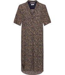 dress short sleeve knälång klänning gul noa noa