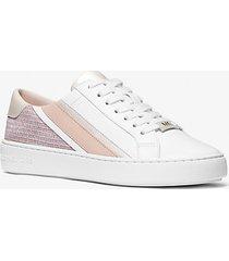mk sneaker slade a righe in pelle e mesh metallizzato con glitter - bianco ottico cangiante (bianco) - michael kors