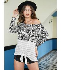 atado en bloque de color diseño leopard one camiseta de hombro