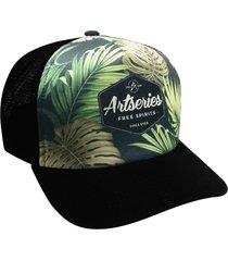 boné trucker logo artseries camuflado tropical
