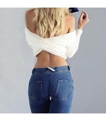moda algodón mujeres jeans leggings cintura baja elástica sexy push-azul