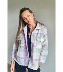 flannel brushed jacket, lilac
