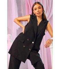 getailleerde getailleerde jas met zakdetail, zwart