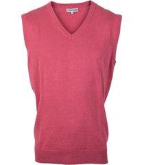 sweater clásico sin mangas cuello v rosado oscuro kotting
