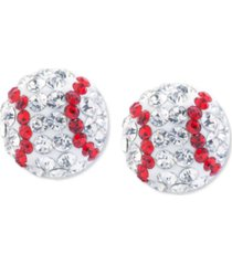 crystal baseball stud earrings in sterling silver