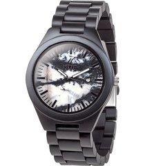 reloj madera sandalo mármol gris nerfis