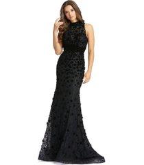 mac duggal high neck embellished gown