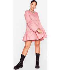 womens tier we come plus mini dress - dusty rose