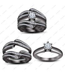 10k black gold plated wedding engagement ring set with white sim diamond 5 6 7