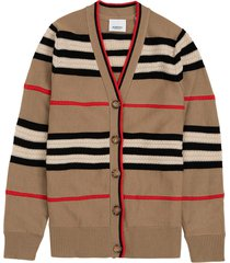 burberry icon stripe wool and cashmere cardigan