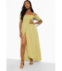 petite geplooide bloemenpatroon maxi wikkel jurk, yellow