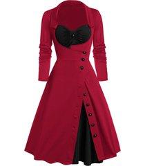 button slit ruched contrast faux twinset vintage dress