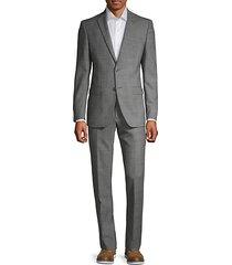 slim-fit glen plaid wool suit