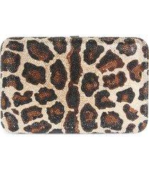 judith leiber crystal leopard box clutch - metallic