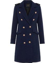 lange jas donkerblauwe wolmix
