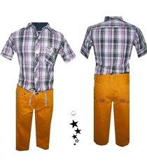 conjunto  camisa manga corta (3/4) -pantalón con cordón en drill