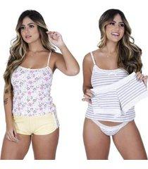 kit 2 short doll brilhante algodão compras de lingerie feminino - feminino