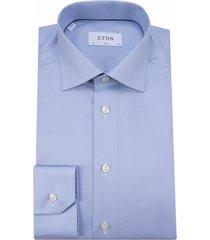 eton slim fit overhemd met lange mouwen licht blauw