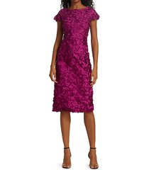theia women's petal ruffle-sleeve dress - magenta - size 6