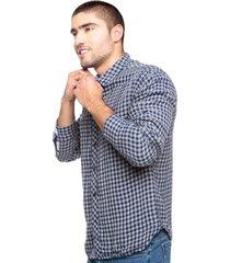camisa para hombre a cuadros color azul con gris