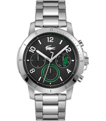 lacoste topspin chronograph bracelet watch, 43mm in black at nordstrom