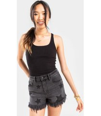 eve star fringed denim shorts - black