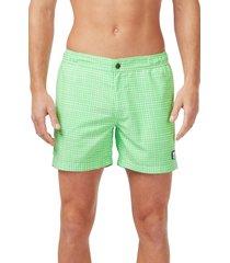 men's tom & teddy gingham print snap swim trunks
