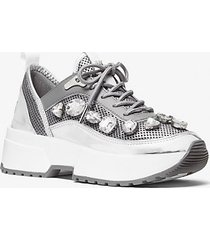 mk sneaker chaplin in pelle e mesh metallizzato con decori gioiello - argento scuro (argento) - michael kors