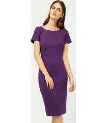 sukienka dopasowana krótki rękaw ciemny fiolet