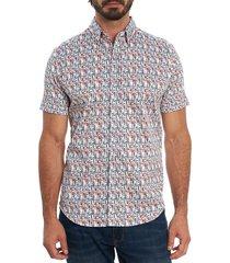 robert graham men's bottoms up short-sleeve sport shirt - size s