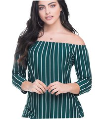 blusa para mujer rayas verde botella mp