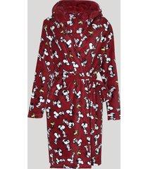 roupão de fleece feminino snoppy com faixa para amarrar manga longa vinho