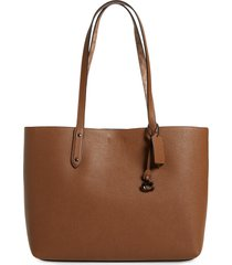 coach central leather & signature coated canvas tote - brown (nordstrom exclusive)