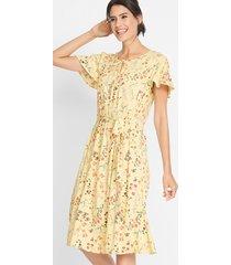 geweven midi jurk met volantmouwen
