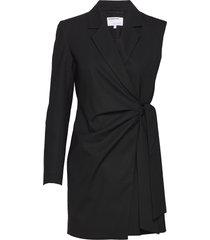 asymmetric wrap-style blazer-dress kort klänning svart designers, remix