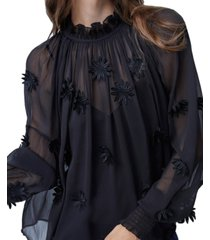 french connection aziza sheer floral-embellished top