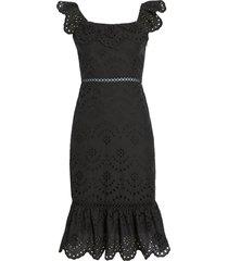 women's sam edleman ruffle eyelet dress, size 10 - black