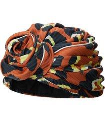 maison michel hiromi leopard-print turban - orange