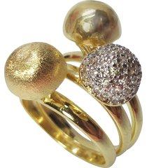 anel kumbayá trio de bolas semijoia banho de ouro 18k cravação de zircônia detalhe em ródio