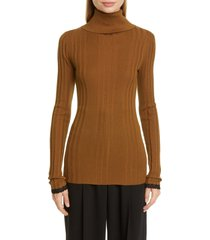 women's proenza schouler ribbed silk & cashmere blend turtleneck sweater, size x-large - brown