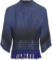 blusa feminina top cropped jeans - azul