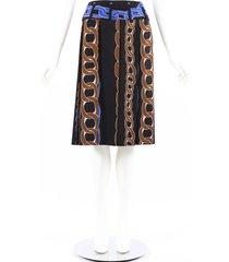marni multicolor chain print wool silk pleated skirt multicolor sz: s
