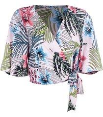 blusa kimono linda d+ floral rosa