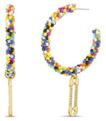 seed bead c-hoop post earrings with casted stone safety pin charm dangle