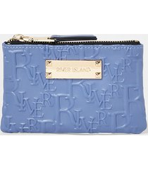 river island womens blue embossed mini pouch bag