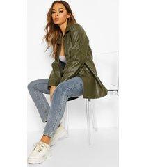 faux leather utility jacket, khaki