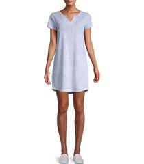 marc new york performance women's printed t-shirt dress - blue combo - size s