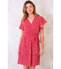 bloemen jurk met strik rood
